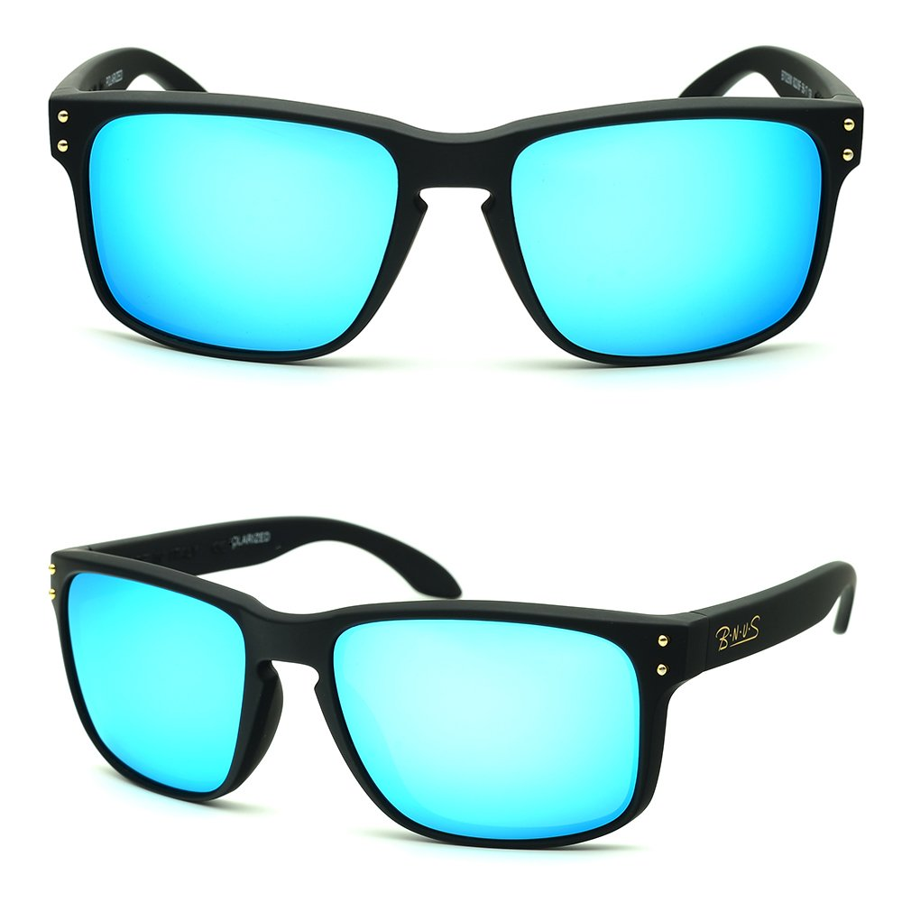 eyewear Shades fashion blue glass lenses Polarized for Men and Women (Frame: Matte Black, Polarized Blue Flash) by B.N.U.S