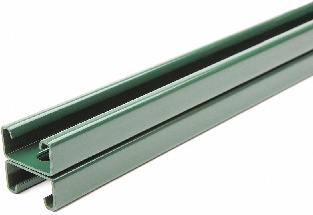 Slotted Back to Back 1-5/8 x 1-5/8 Strut Channel, Green Painted Steel, 14 ga, 3 ft.