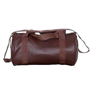 Ink Craft Unisex Leatherette Gym Duffle Bag (Brown, 25L, FL52)