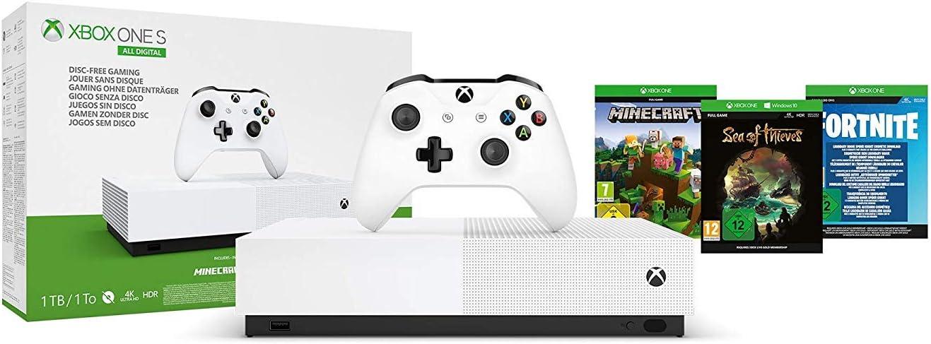 Microsoft - Xbox One S 1 TB All-Digital Edition, Fortnite (juego digital), Sea of Thieves (juego digital), Minecraft (juego digital): Microsoft: Amazon.es: Videojuegos