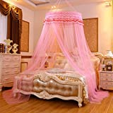 Lustar Princess Lace Mosquito Net Bed Canopy For Children Fly Insect Protection Indoor Decorative Height 2.8m Top Diameter 0.6-1m,Pinkb