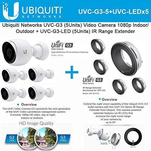 G3 Led (Ubiquiti UVC-G3 5-Pack Video Camera 1080p + UVC-G3-LED 5-Pack IR Range Extender)