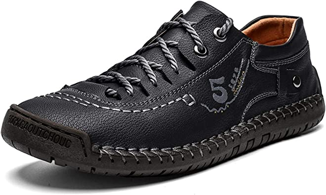 Mens Breathable Sneakers Lace Up Non Skid Round Toe Loafers Party Comfy Shoes