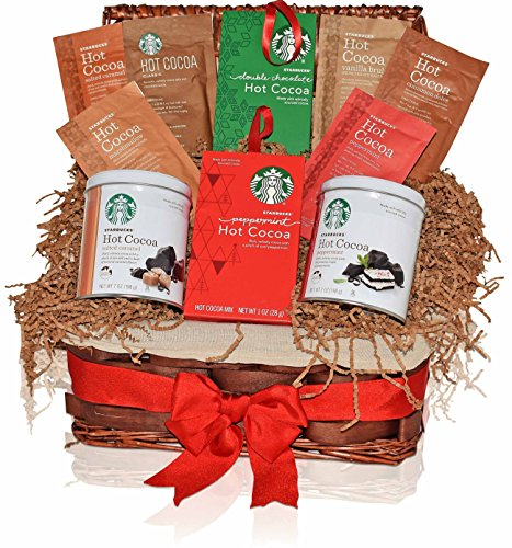 Starbucks Christmas Hot Cocoa Variety Gift Basket - 7 Different Popular Flavors - Peppermint, Double Chocolate, Classic, Salted Caramel and more - Holiday Gift Pack for Family, Friends, Him, Her
