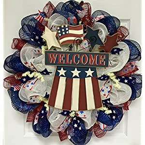Uncle Sam Hat with American Flag and Stars Patriotic Deco Mesh Welcome Wreath 2