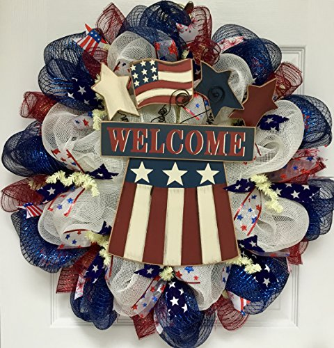 merican Flag and Stars Patriotic Deco Mesh Welcome Wreath ()