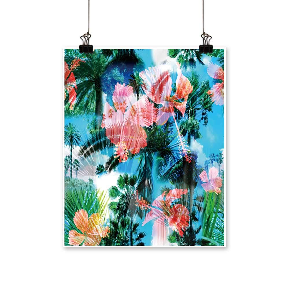Canvas Prints Artwork Palm Trees backgroun Tropical Flowers Hibiscus Clip Art Artwork Wall,28''W x 52''L/1pc(Frameless) by painting-home