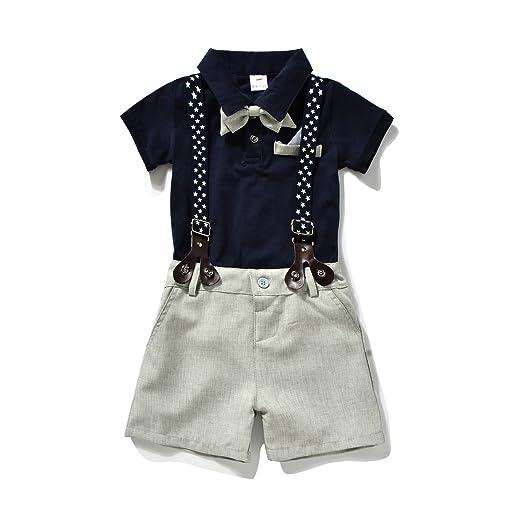 f65e03d86 Miniowl Toddler Boys 2 PCS Set Gentleman Bowtie Polo T-shirt Bid Shorts  Overalls (