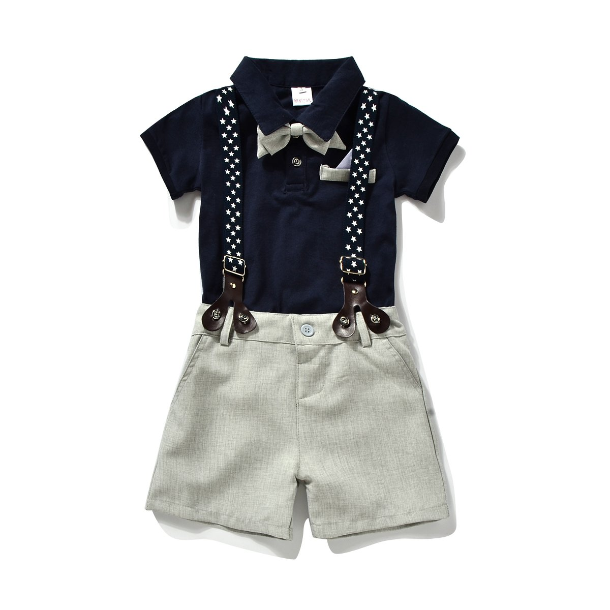 Miniowl ® Toddler Boys 2 PCS Set Gentleman Bowtie Polo T-shirt Bid Shorts Overalls (4t, Black)