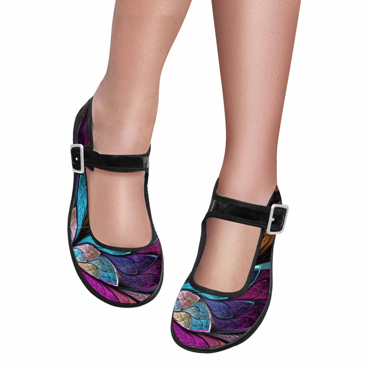 InterestPrint Women's Comfort Mary Jane Flats Casual Walking Shoes Beautiful Fractal Flower Butterfly in Stained Glass Window Style 6 B(M) US