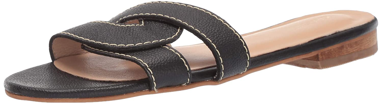 Black KAANAS Womens Santorini Infinity Loop Woven Flat Slide Sandal Sandal