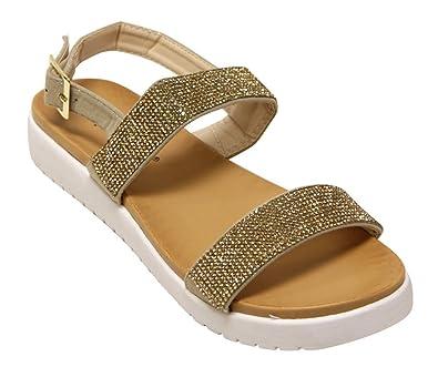 eacad035c33 Nature Breeze Sophie-10 women s beaded comfort flat adjustable ankle strap  sandals Gold 7.5