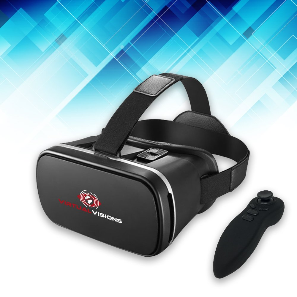 Virtual Visions Light Weight Virtual Reality Headset By JayTec, 360 VR Headset With Free Game Controller, Virtual Reality Games And Movies, Compatible With 4.7-6.2 iPhone and Android Devices