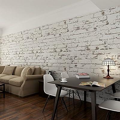 Hanmero Papier Peint Brique Blanche Vintage Intisse Motif De Pierre 3d Pour Salon Chambre Tv Fond Blanc Cafe 0 53m 10m