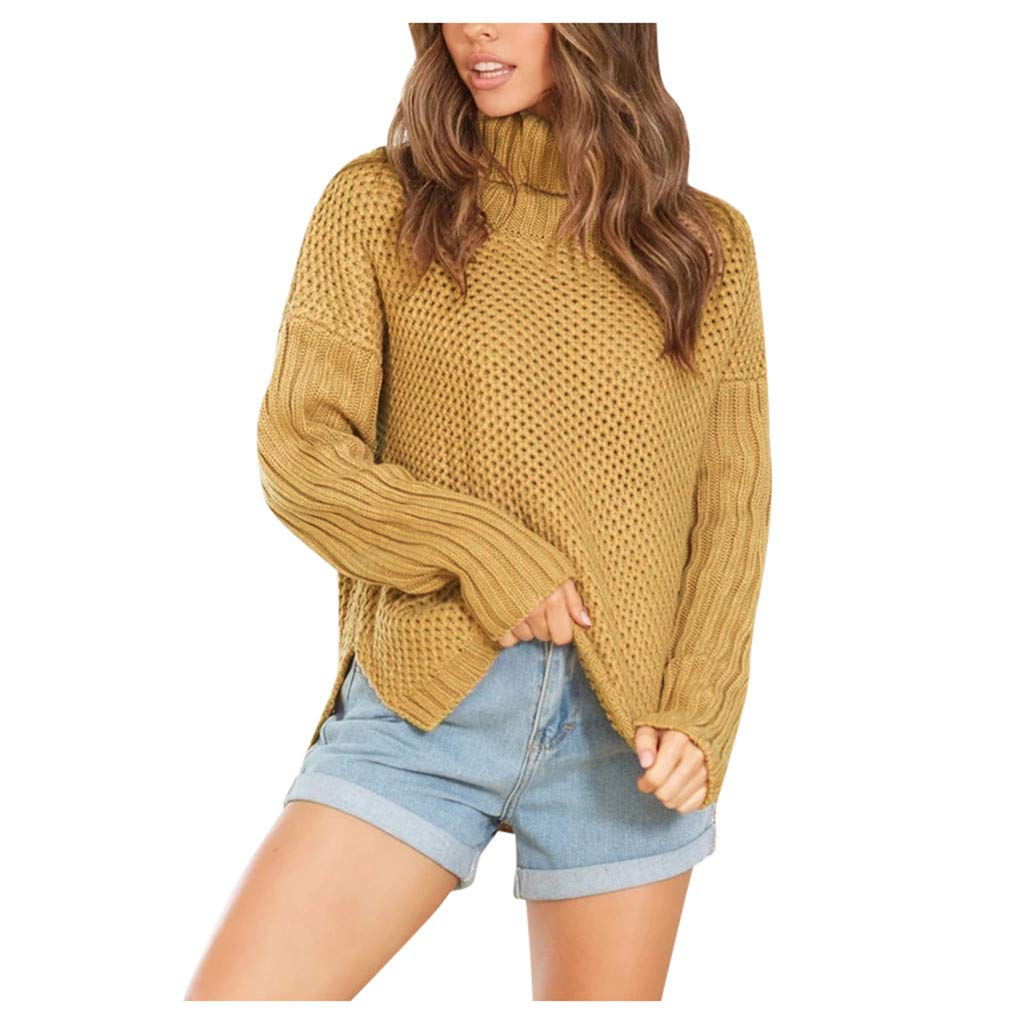 YANG-YI Short Women Sweaters Casual Ladies Winner Long Sleeve Pullover Shirt Tops Khaki by YANG-YI
