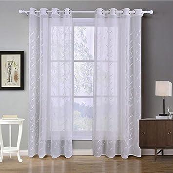 GWELL Weiß Transparent Gardinen Ösenschal Vorhang mit Ösen Dekoschal für  Wohnzimmer Schlafzimmer 1er-Pack Muster-A 240x140cm(HxB)
