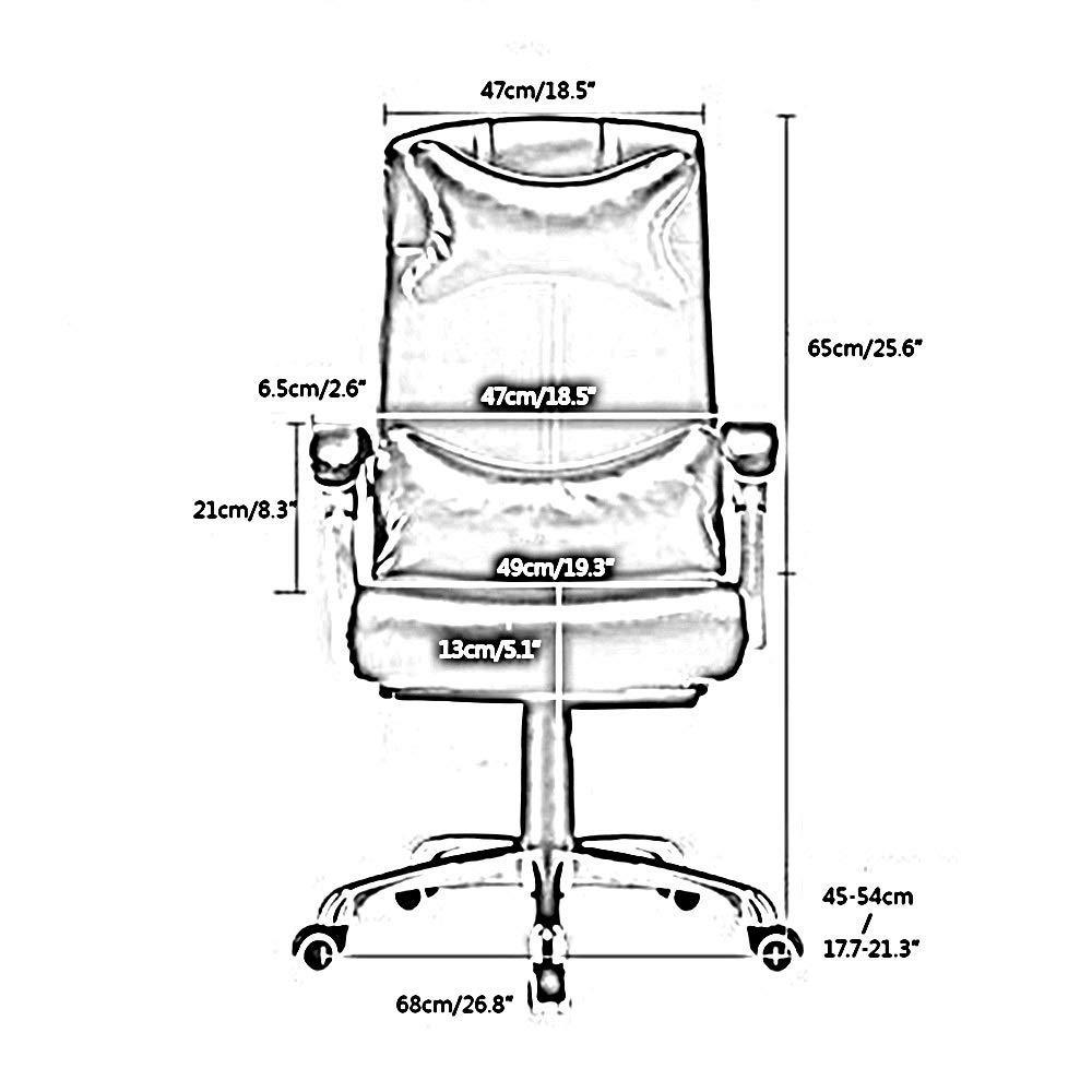 JIEER-C stol läder dator skrivbord stol justerbar höjd liggande kontorsstol ergonomisk personalstol med nackstöd och ryggstöd, mjölkvit Kaffe