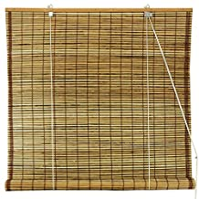Oriental Furniture Burnt Bamboo Roll Up Window Blinds, Tortoise, 36-Inch Wide