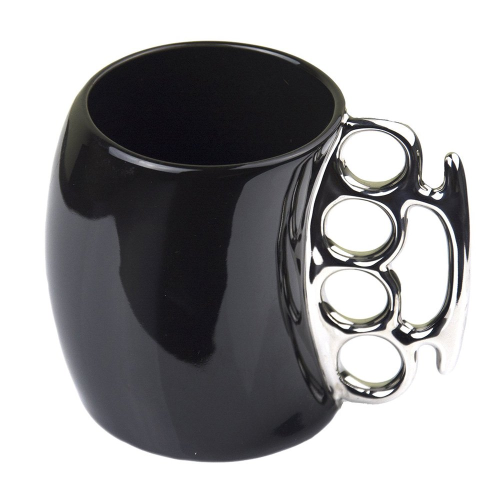 Funny Coffee Mug,Brass Knuckle Duster Creative Ceramic Cup Cool Black Mugs with Silver Handle