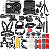 Neewer G0 HD 4K Action Camera 12MP, 98 ft Underwater Waterproof Camera: 170 Degree Wide Angle WiFi Sports Camera with 50-in-1 Action Camera Accessory Kit