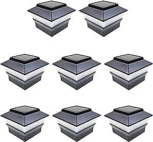 iGlow 8 Pack Black Outdoor Garden 4 x 4 Solar LED Post Deck Cap Square Fence Light Landscape Lamp PVC Vinyl Plastic