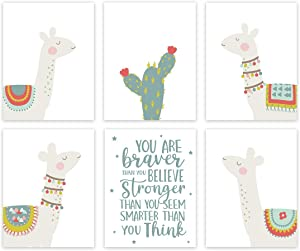 Andaz Press Boho Llama Alpaca Cactus Theme Nursery Kids Bedroom Wall Art Room Decor, 8.5x11-inch, You are Braver Than You Believe, Stronger, Smarter, 6-Pack, Unframed Hanging Poster