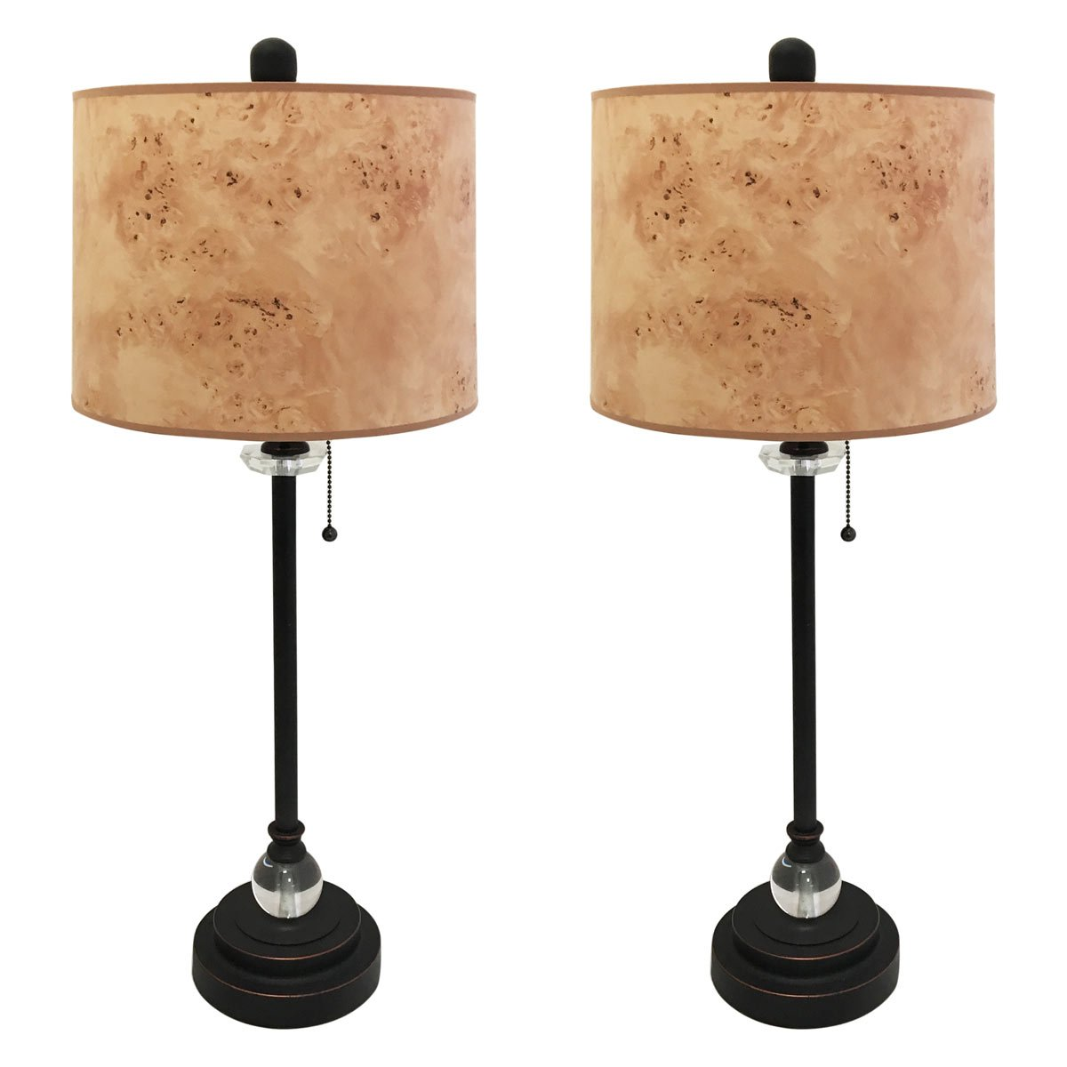 Royal Designs 28'' Crystal and Oil Rub Bronze Buffet Lamp with Light Brown Wood Texture Hardback Lamp Shade, Set of 2 by Royal Designs, Inc