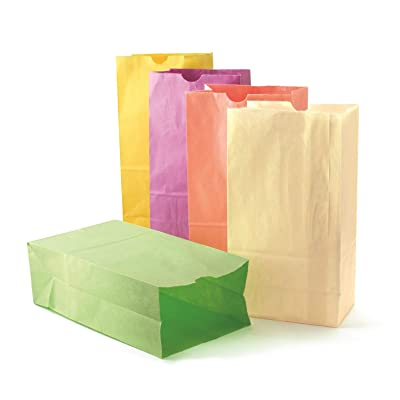 Hygloss Products Colored Paper Bags - Party Favors, Puppets, Crafts & More - Large Paper Bags - 6# Size - 6 x 3.5 x 11 Inches - Assorted Pastel Colors - 28 Pack: Toys & Games
