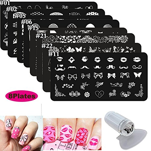 8Pcs Nail Stamping Kits Stamp Plates Stamper Scraper Set - DAODER Cute Sweet Heart Kiss Nails Love Animals Flower Nail Print Pattern Stainless Steel Manicure Plates + 1 Polish Stamper Scraper -