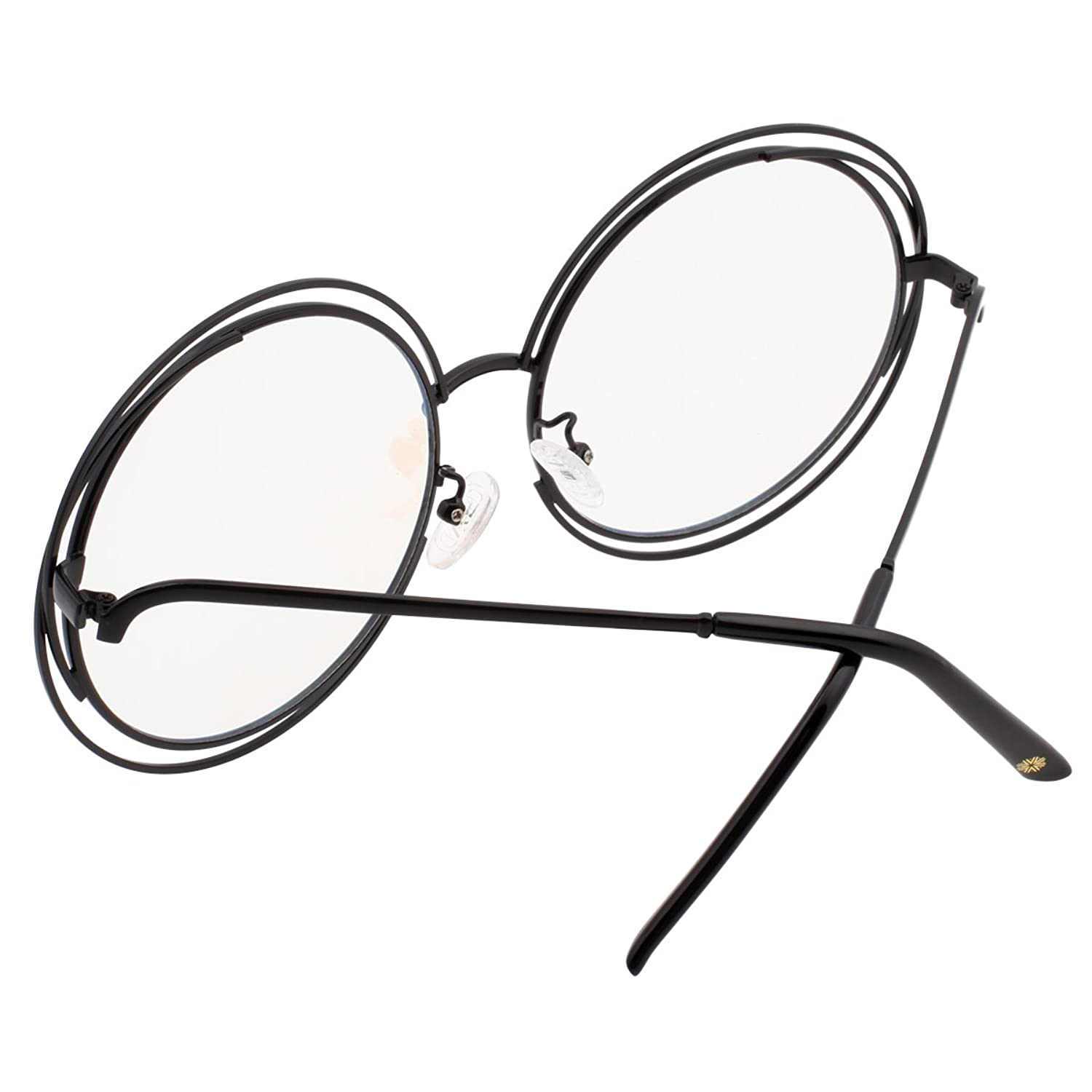 41059e9737 VIVIENFANG Full Metal Double Circle Wire Frame Oversized Round Polarized  Sunglasses 86613