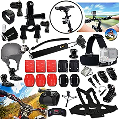 Xtech® DIRT BIKE ACCESSORIES Kit for GoPro Hero 4 3+ 3 2 1 Hero4 Hero3 Hero2, Hero 4 Silver, Hero 4 Black, Hero 3+ Hero3+ and for Bike Riding, Biking, Racing, Dirt Bikes, Dirt Track Racing, Motorcycle Racing, Rallying and other Similar Sports Activities Includes: BIKE MOUNT + Helmet Harness Mount + Chest Strap Mount + Head Strap Mount + MORE