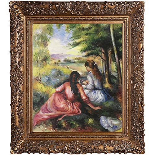 overstockArt Renoir Two Girls in The Meadow with Organic Pattern Facade with Gold Finish Burgeon Gold Frame