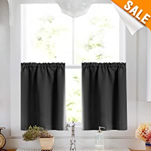 Lazzzy Blackout Small Thermal Insulated Window Black Tier Curtains Tier Curtain Set Rod Pocket Valance Curtains Drapes Tier Curtain and Valance 34W by 24L Inches Black 2 Pieces