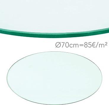 Rapid Teck® 70€m² Glasplatte Rund Durchm. 600 mm Glastisch Tischplatte aus gehärtetem Glas Tisch Glasscheibe 8mm Dick