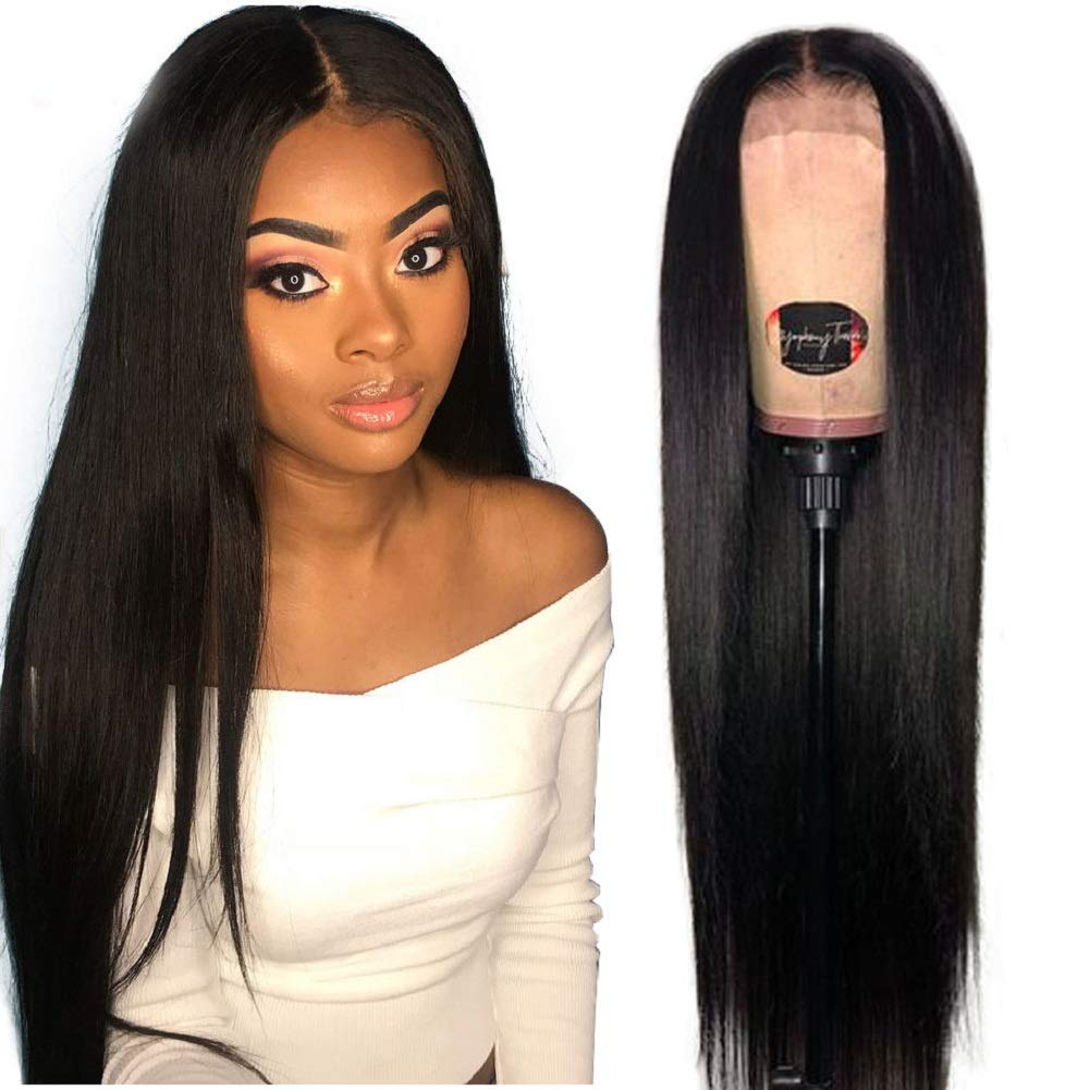 V SHOW Straight Human Hair Lace Front Wigs Vshow Hair Human Hair with Baby Hair Pre Plucked for Black Women Remy Virgin Hair Lace Wigs 22 Inches