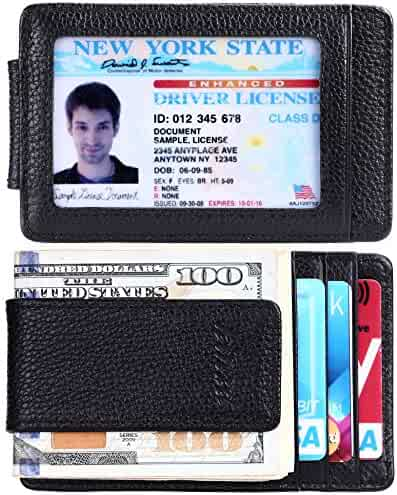 Money Clip, Front Pocket Wallet,Leather RFID Blocking Strong Magnet thin Wallet