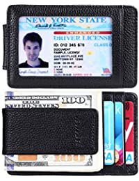 Money Clip, Front Pocket Wallet, Leather RFID Blocking...