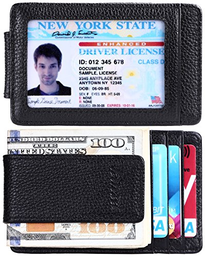 kinzd Money Clip, Front Pocket Wallet,Leather RFID Blocking Strong Magnet thin Wallet, A Litch Pattern Black, One Size ()