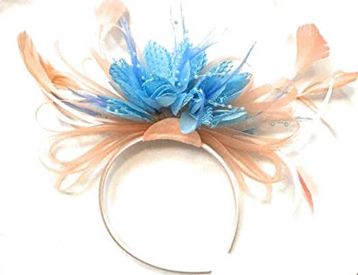 de594af86fb2d Nude Peach Pink and Light Baby Cornflower Blue Feather Hair Fascinator  Headband Wedding Royal Ascot Races Ladies  Amazon.co.uk  Clothing