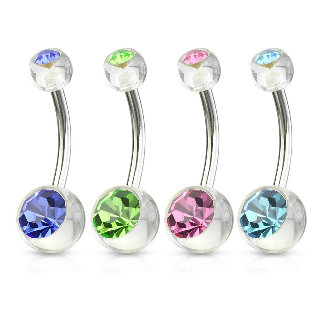 Fifth Cue 14G 4pc Double CZ Clear Acrylic Balls 316L Surgical Steel Naval Belly Button Ring Value Pack