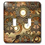 Heike Köhnen Design Steampunk - Steampunk clocks gears in golden design - Light Switch Covers - double toggle switch (lsp_239732_2)