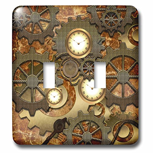 Design Double Toggle Switch - 3dRose LSP_239732_2 Steampunk Clocks Gears in Golden Design-Double Toggle Switch
