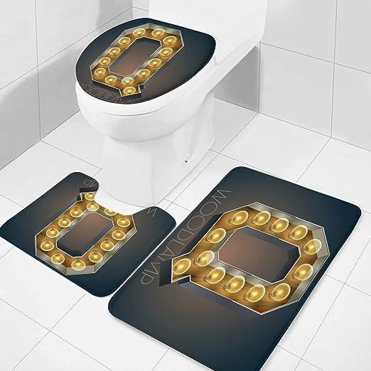 Flannel Bathroom Carpet mat 24x36inch Vector Wooden Electric Light up lamp Alphabet in Hard Font Letter q 3 Pieces Bathroom mat Carpet Toilet Cover with Non-Slip mat CBB