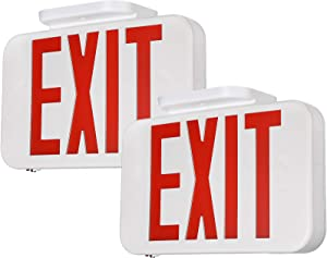 TORCHSTAR LED Emergency EXIT Sign, Double Sided and Battery Backup Emergency Lights, UL 924, AC 120-227V, for Home & Commercial, Pack of 2