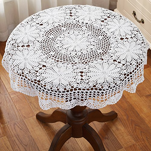 31 Inch Round White HANDMADE Crochet Lace Tablecloth
