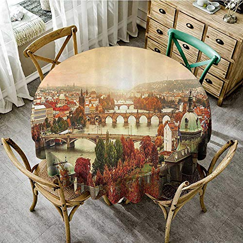 familytaste Tablecloths for Restaurant Wanderlust Decor Collection,Sunset View to Charles Bridge on Vltava River and Colorful Tree Leaves Image,Ruby Red Ivory D 36