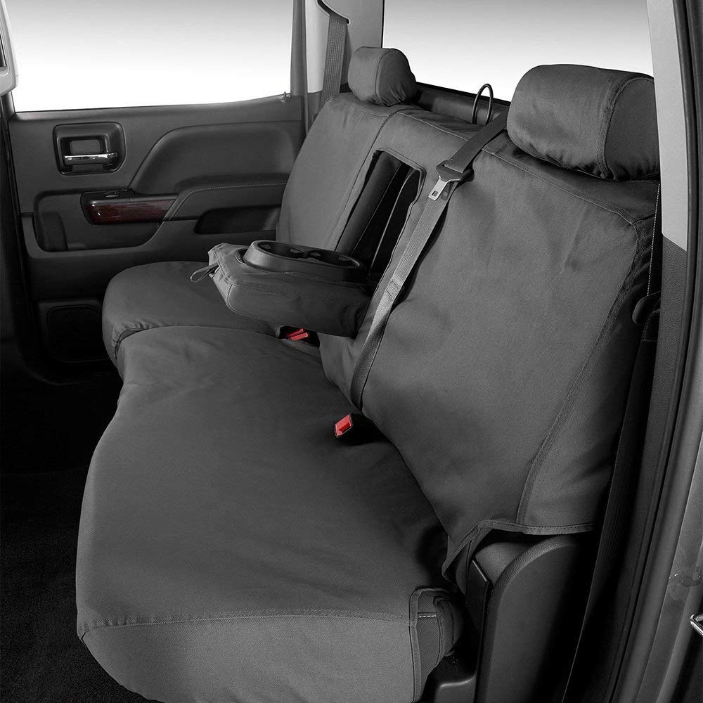 Covercraft 2nd Row Black Charcoal Rear Seat Covers fits Ford F-250 Lariat//XL//XLT Crew Cab 60//40 Split Bench Seat