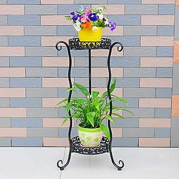 JiuErDP Soporte de flores de hierro forjado en el suelo ...
