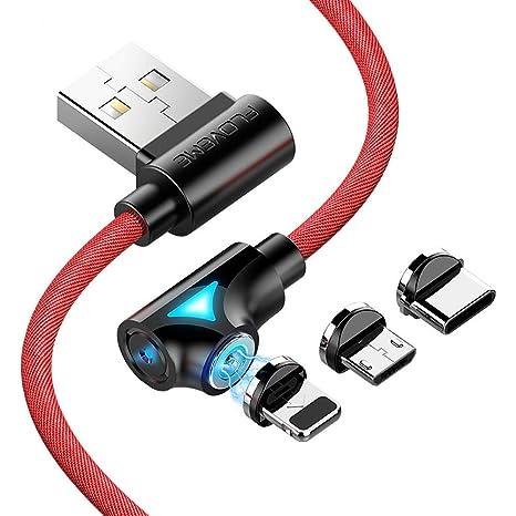 ACZZ Cable magnético de 90 grados Micro USB tipo C de carga ...