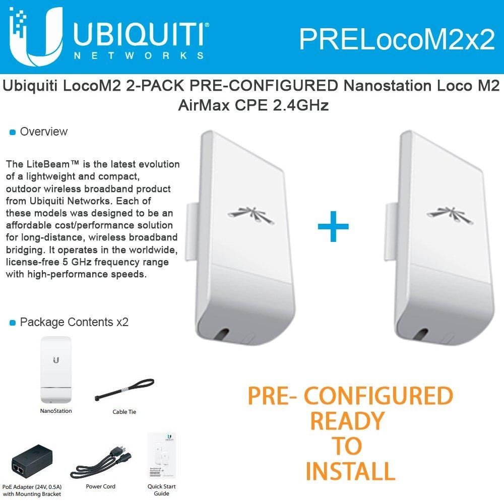 Ubiquiti LocoM2 2-PACK PRE-CONFIGURED Nanostation Loco M2 AirMax CPE 2.4GHz